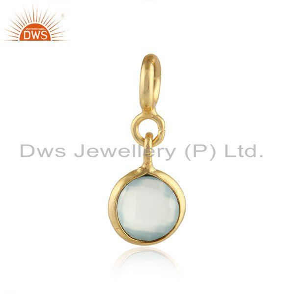 Aqua Chalcedony Gemstone Gold Plated 92.5 Silver Pendant Findings