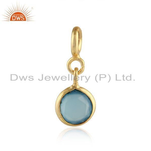 Designer Gold Plated Silver Blue Chalcedony Gemstone Findings