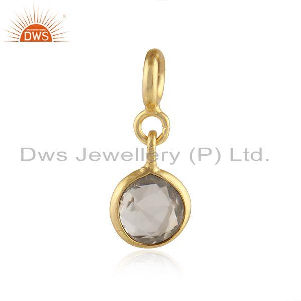 Crystal Quartz Gemstone Gold Plated 925 Silver Pendant Findings