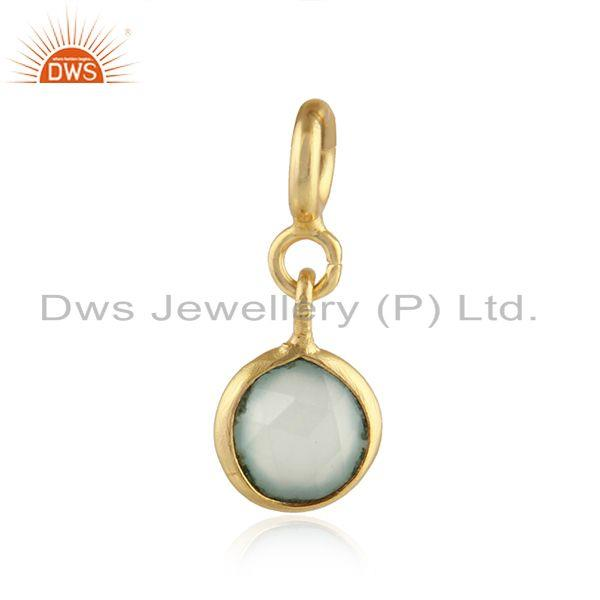 Prehnite chalcedony gemstone gold plated silver finding jewelry