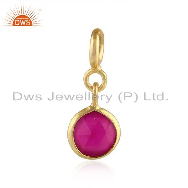Pink chalcedony gemstone yellow gold plated 92.5 silver findings