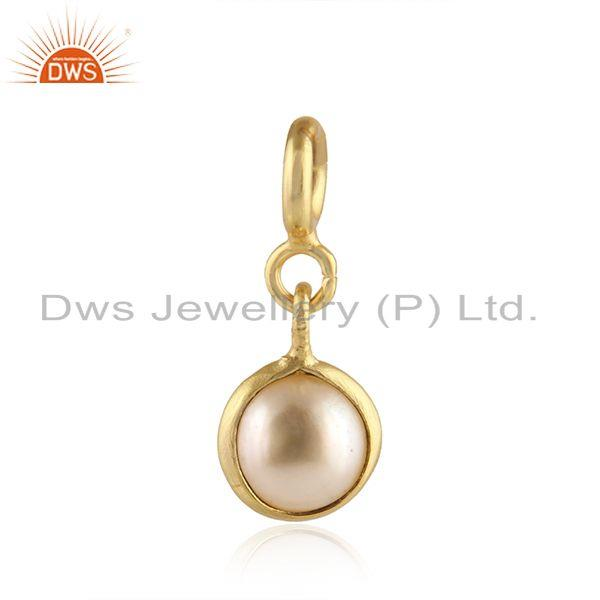 Natural Pearl Gold Plated Designer Silver Charm Pendant Jewelry