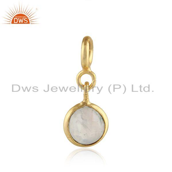 Gold Plated Designer Silver Rainbow Moonstone Finding Jewelry