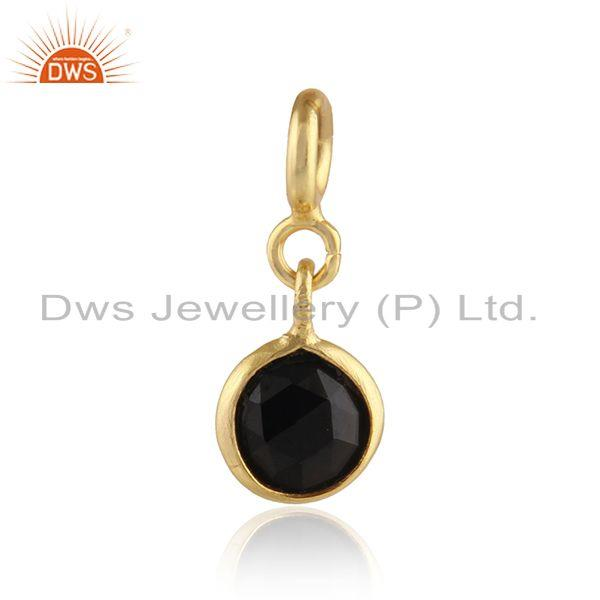 Black Onyx Gemstone Yellow Gold Plated Silver Charms Findings