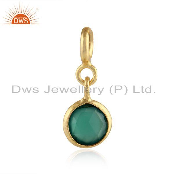 Green onyx gemstone gold plated silver pendant charm findings