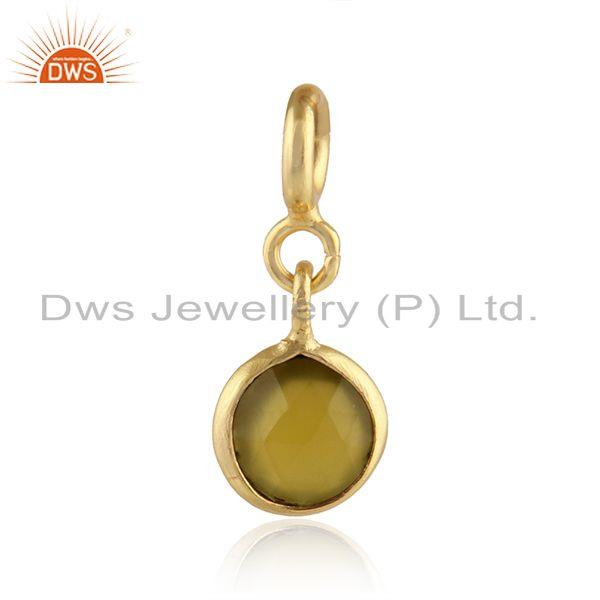 Yellow Chalcedony Gemstone Silver Pendant Charms Findings Jewelry