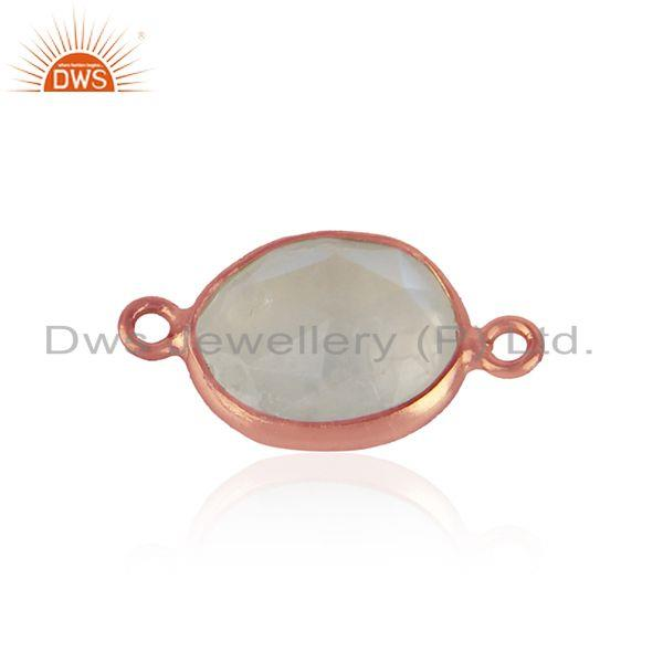 Connector in Rose Gold Plated Silver 925 with Rainbow Moonstone