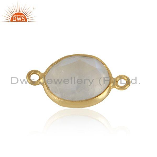 Jewelry Connector in Yellow Gold on Silver with Rainbow Moonstone