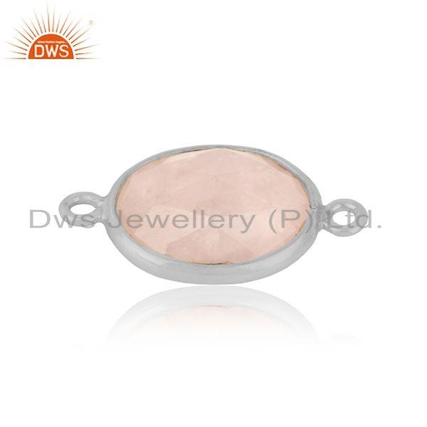 Trendy jewelry connector in solid silver 925 with rose quartz