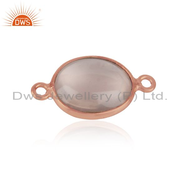 Jewelry connector in rose gold over silver 925 and rose quartz