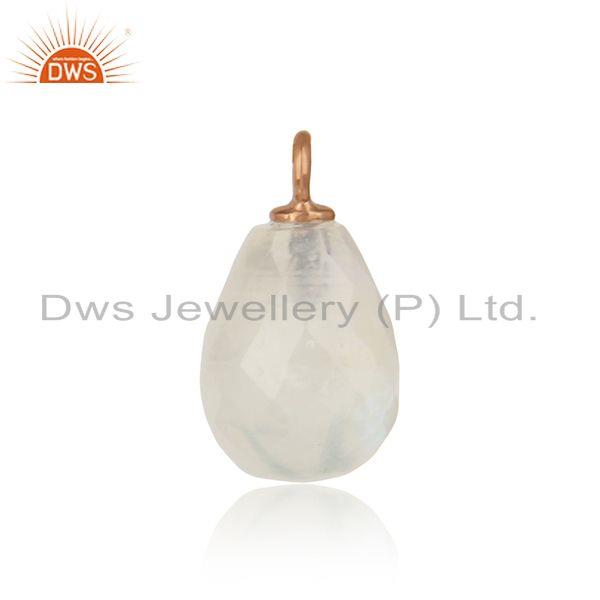 Trendy rainbow moonstone jewelry charm in rose gold on silver 925