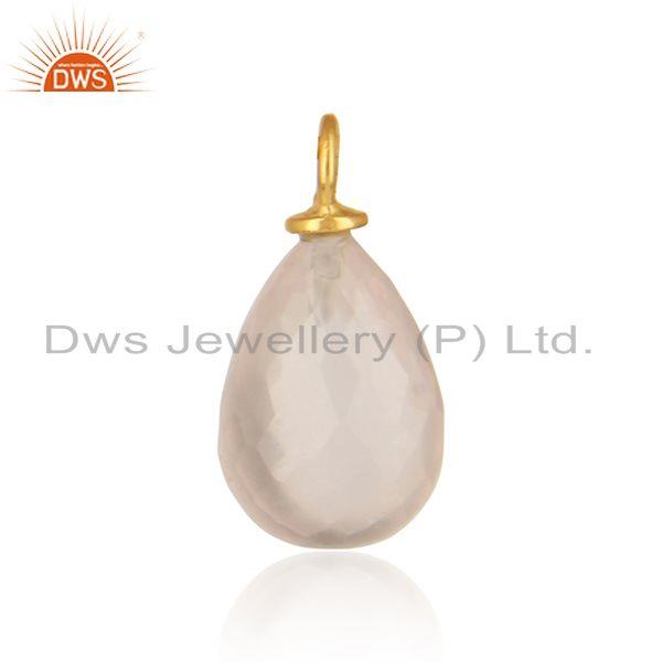 Handmade Rose Quartz Jewelry Charm in Yellow Gold Over Silver 925