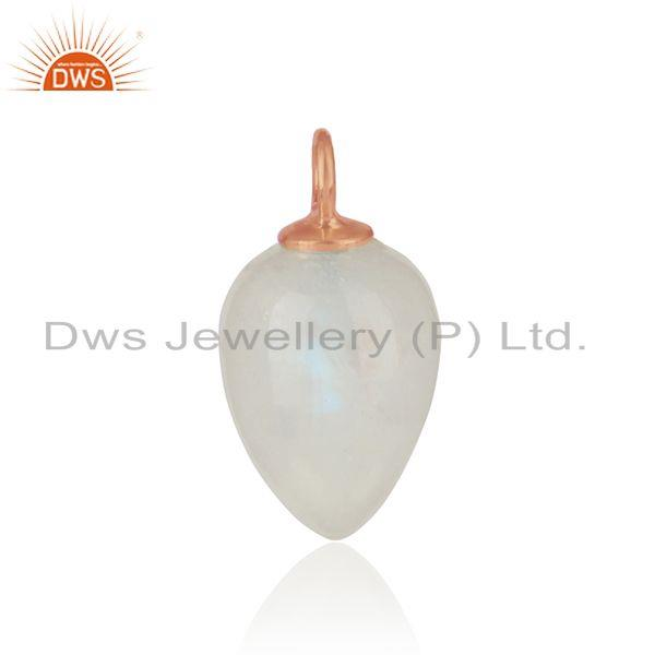 Natural rainbow moonstone charm in rose gold over silver 925