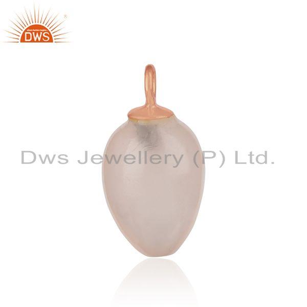 Handcrafted rose quartz charm in rose gold over silver 925