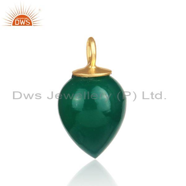 Green onyx set gold on 925 sterling silver handmade pendant