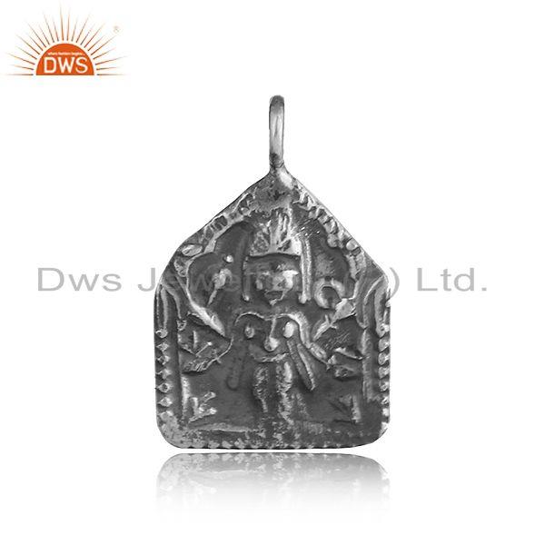 Handmade Textured Ancient Goddess Charm in Oxidized Silver 925