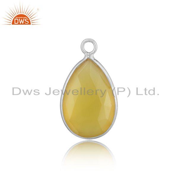 Classic designer charm in sterling silver with yellow chalcedony