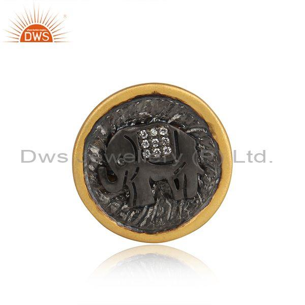 Zircon 925 Silver Gold Plated Elephant Design  Brooch