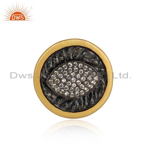 Eye Design 925 Silver Gold Plated Brooch Set With Zircon