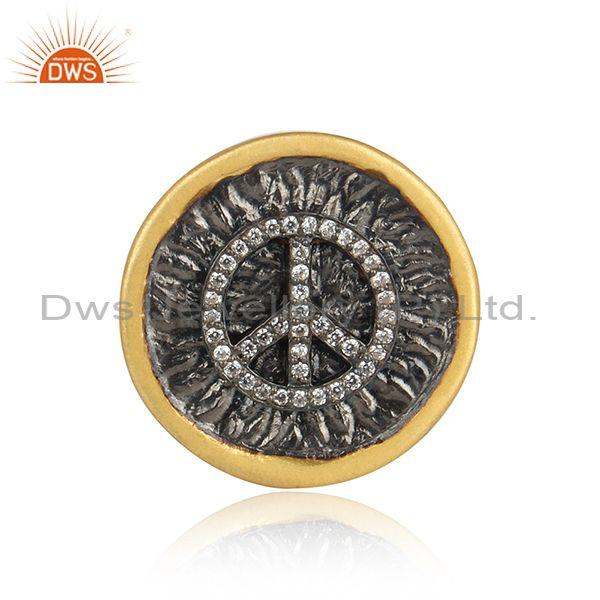 Fancy cubic zirconia set sterling silver gold plated brooch