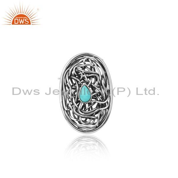 Arizona turquoise entwined oxidized silver jewelry findings