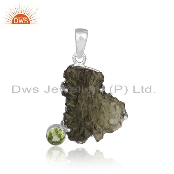 Peridot and moldavite set fine sterling silver fancy pendant