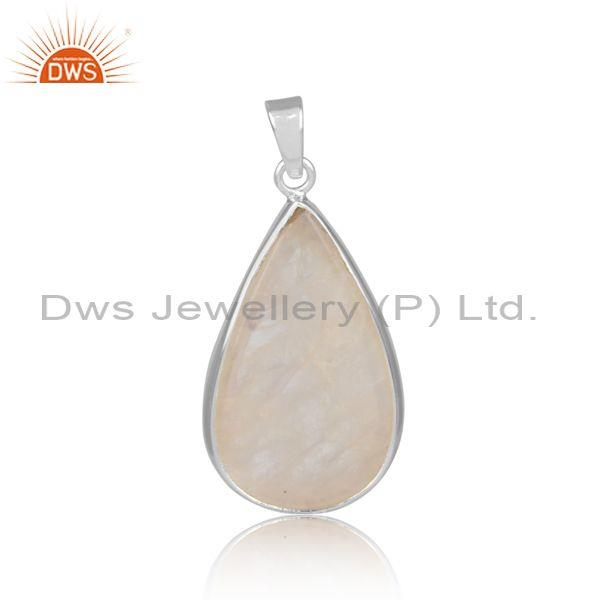 Tear drop shaped rainbow moon stone set fine silver pendant