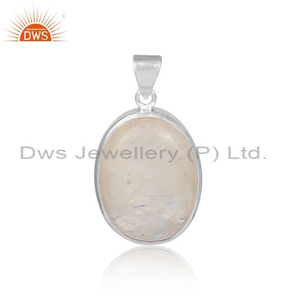 Oval shaped rainbow moon stone set fine 925 silver pendant