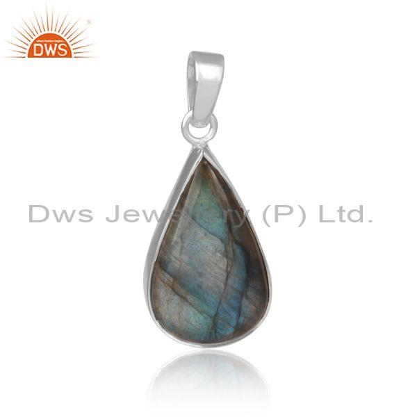 Pear cut labradorite set fine sterling silver fancy pendant