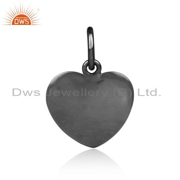 Handmade black on 925 silver heart shaped statement pendant