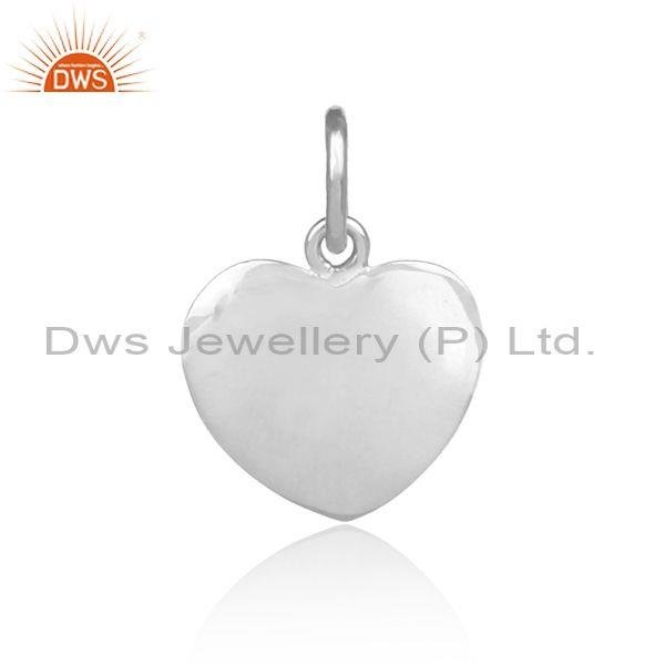 Handmade fine sterling silver heart shaped statement pendant