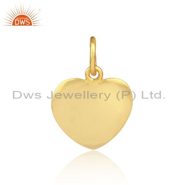 Handmade gold on 925 silver heart shaped statement pendant