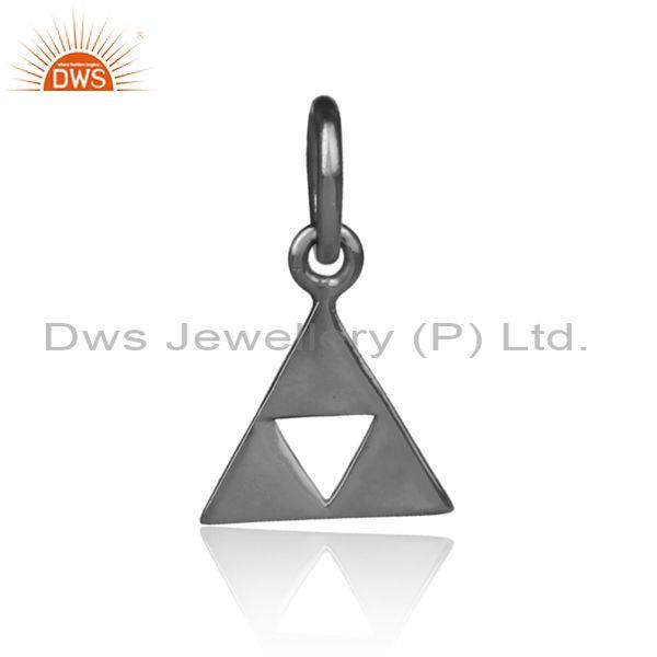 Handmade black on silver fancy triangular statement pendant