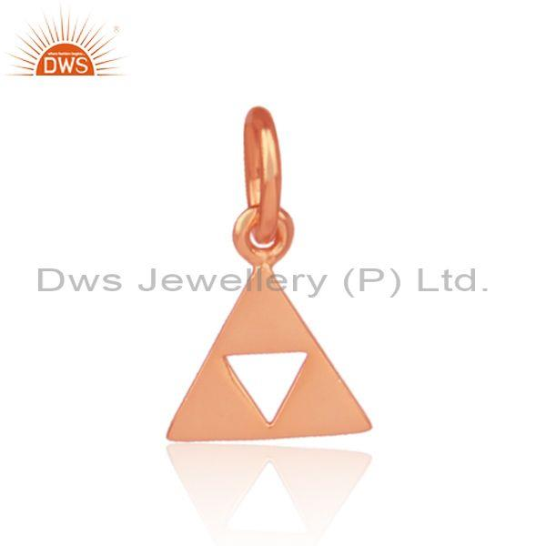 Handmade rose gold on silver triangular statement pendant