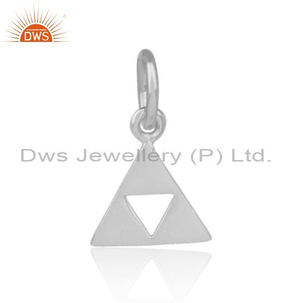 Handmade fine 925 silver fancy triangular statement pendant
