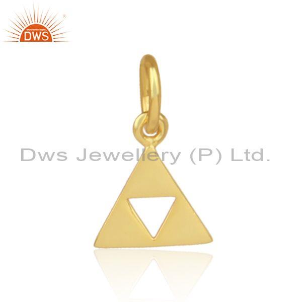 Handmade gold on silver fancy triangular statement pendant