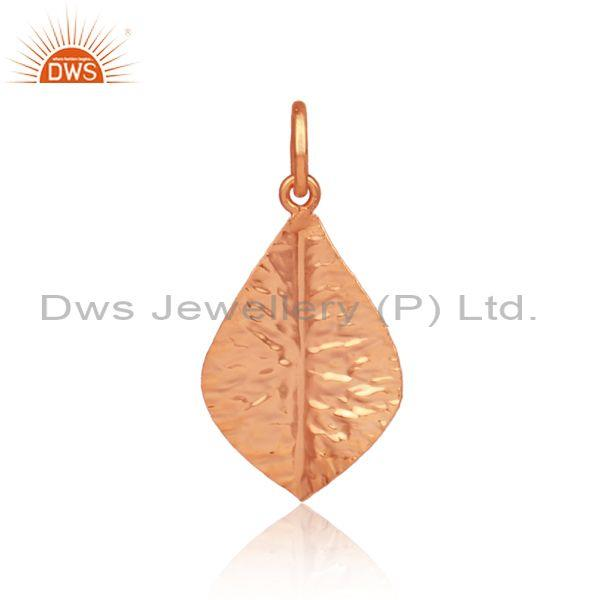 Rose gold on 925 silver hand hammered petal designer pendant