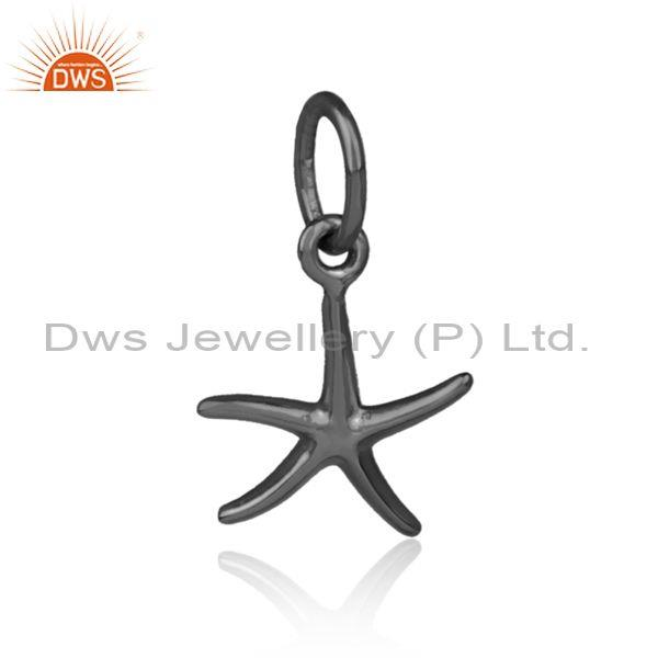Handmade black on 925 silver star shaped designer pendant