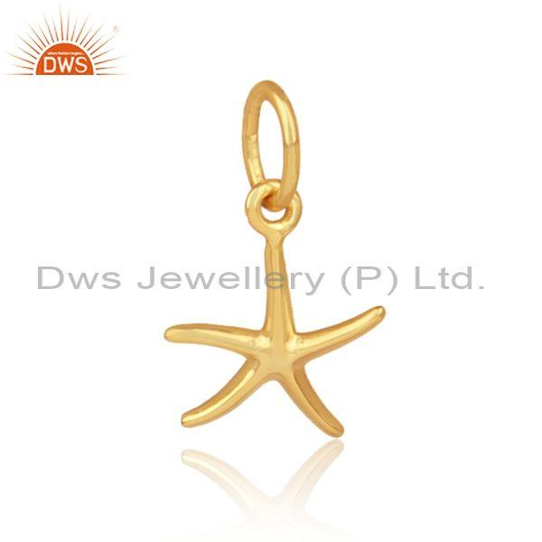 Handmade gold on 925 silver star shaped designer pendant