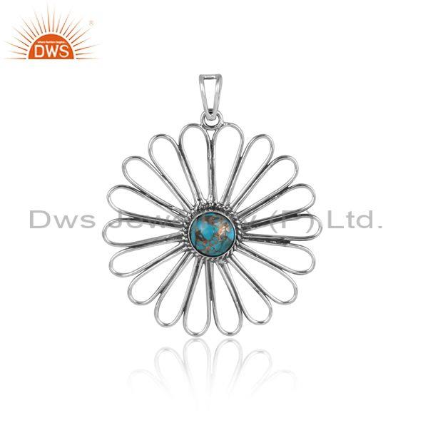 Mojave copper turquoise set oxidized silver floral pendant