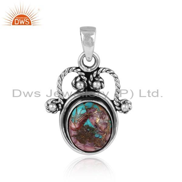 Mojave copper purple oyster turquoise oxide silver pendant