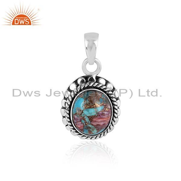 Oxide silver, mojave copper purple oyster turquoise pendant