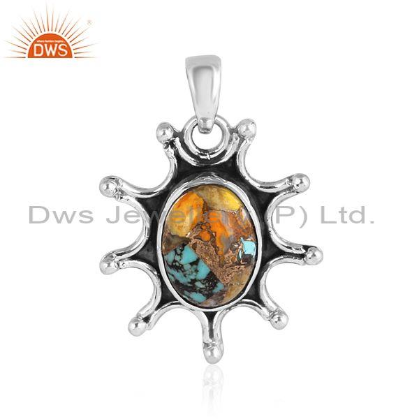 Oxidized silver, mojave copper bumblebee turquoise pendant