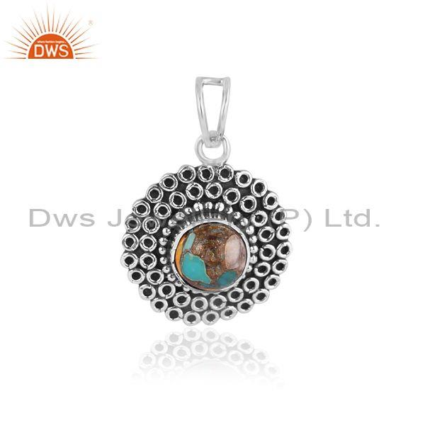 Mojave copper oyster turquoise oxidized silver fancy pendant