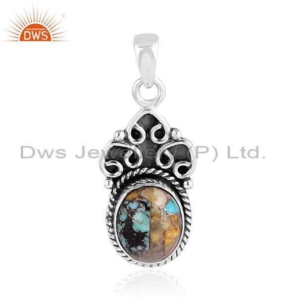 Mojave copper bumblebee turquoise fancy oxide silver pendant