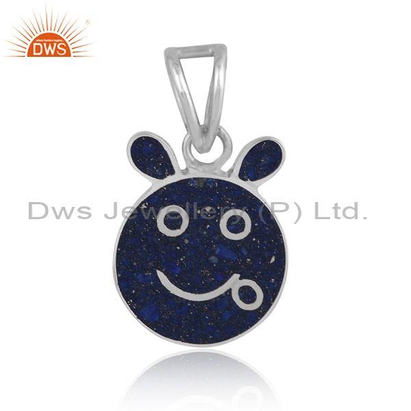 Lapis coin set fine sterling silver abstract design pendant