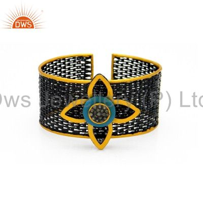 Oxidized 18K Gold And Silver Turquoise Pave Diamond Designer Wide Cuff Bangle
