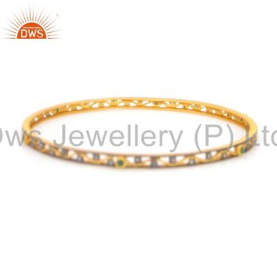 18K Yellow Gold Over Sterling Silver Pave Diamond And Emerald Bangle Bracelet