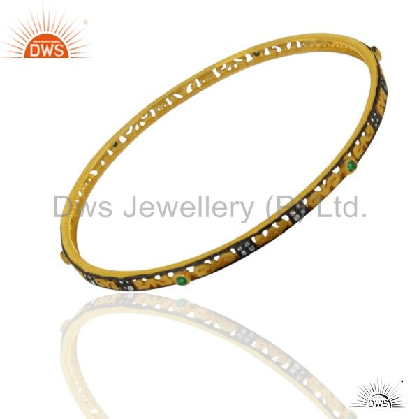 18K Yellow Gold Plated Sterling Silver Green Cubic Zirconia Fashion Bangle