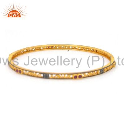 18K Gold Over Sterling Silver Ruby Pave Diamond Sleek Bangle For Womens